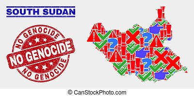 Collage of South Sudan Map Symbol Mosaic and Grunge No Genocide Stamp Seal