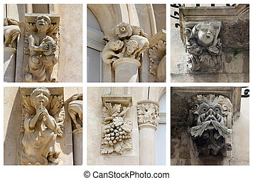Collage of Statues - statues of Donnalucata castle in Sicily