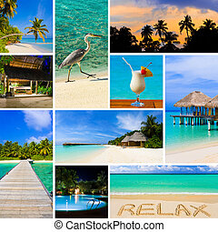 Collage of summer beach maldives images