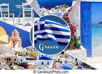 Collage of summer photos in Santorini island, Greece