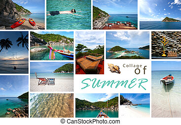 Collage of summer sea and beach images