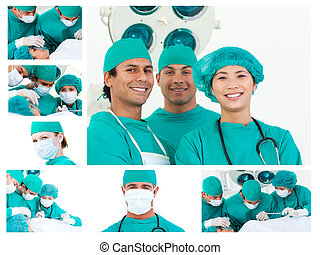 Collage of surgeons during a surgery in a hospital