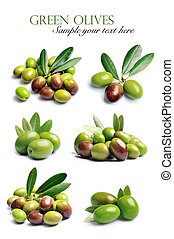 Collage of sweet olives fruits .