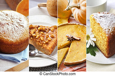 Collage of sweet pastry with pumpkin