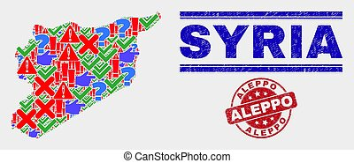 Collage of Syria Map Sign Mosaic and Distress Aleppo Stamp Seal