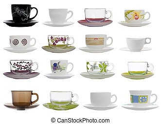 collage of tea cups and saucers