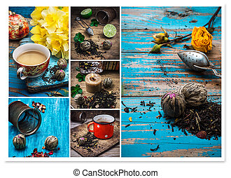 collage of tea