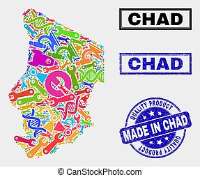 Collage of Technology Chad Map and Quality Product Stamp Seal