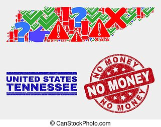 Collage of Tennessee State Map Symbol Mosaic and Scratched No Money Stamp