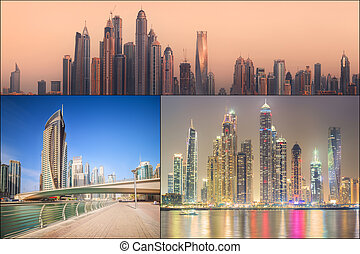 Collage of the beauty panorama at Dubai marina. Dubai, UAE