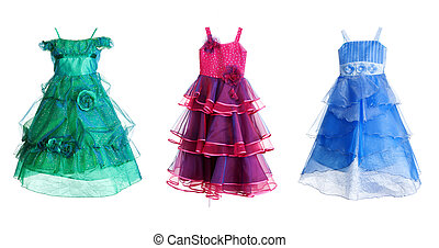 collage of three festive dress isolated on a white...