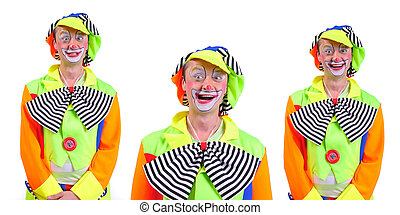 Collage of three: smiling and fooling around animator in clown theater role. Emotional and colorful. Isolated background