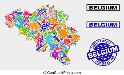 Collage of Tools Belgium Map and Quality Product Stamp Seal