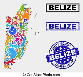 Collage of Tools Belize Map and Quality Product Watermark