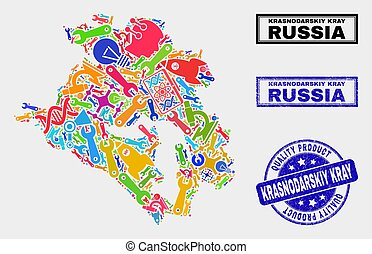 Collage of Tools Krasnodarskiy Kray Map and Quality Product ...