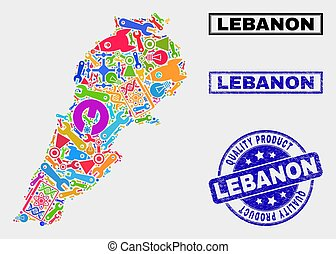 Collage of Tools Lebanon Map and Quality Product Stamp Seal