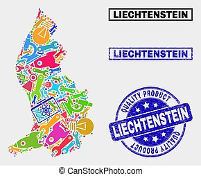 Collage of Tools Liechtenstein Map and Quality Product Stamp Seal