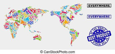 Collage of Tools World Map and Quality Product Stamp Seal