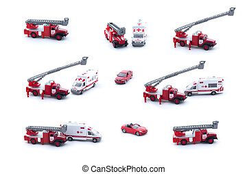 Collage of toy Fire Truck, Ambulance and red car isolated on white background