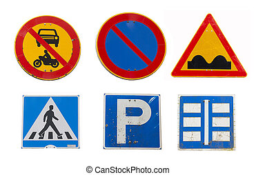 Collage of traffic road signs on white background.