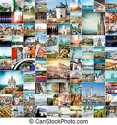 travel photos from different cities of the world - collage ...