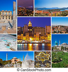Collage of Turkey images - travel and nature background (my...
