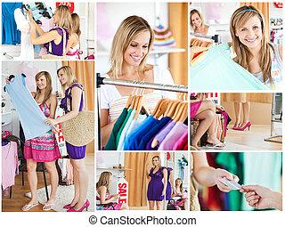 Collage of two beautiful women doing shopping