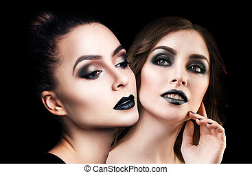 Collage of two beautiful women with black lipstick