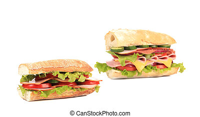 Collage of two fresh sandwiches.