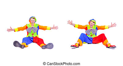 Collage of two: smiling and fooling around animator in clown theater role. Emotional and colorful. Isolated background