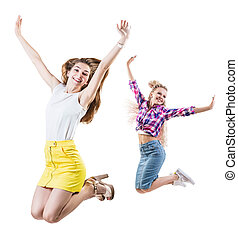 Collage of two women jumps with raised hands.