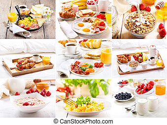 collage of various breakfast