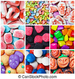 collage of various candies and sweets