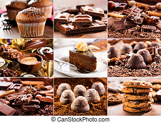 various chocolate products - collage of various chocolate...