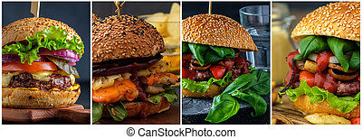 Collage of various hamburgers.