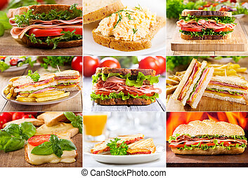 various sandwiches