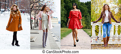 Collage of various young girls in trendy seasonal clothes