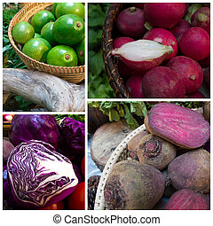 avocado, red cabbage, red radish and beetroot