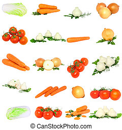 Collage of vegetables .  Isolated