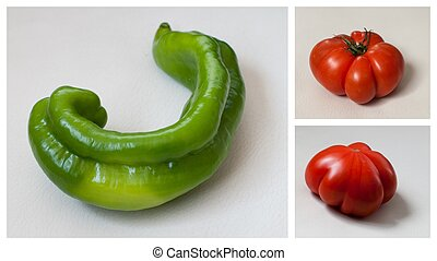 collage of vegetables with isolated