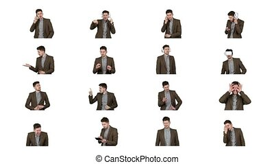 Collage of video images of brunette man isolated on white.