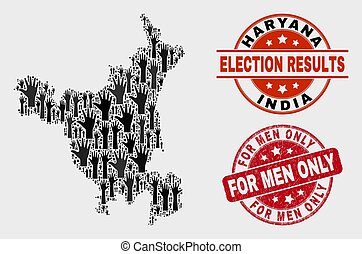 Collage of Vote Haryana State Map and Scratched For Men Only Watermark