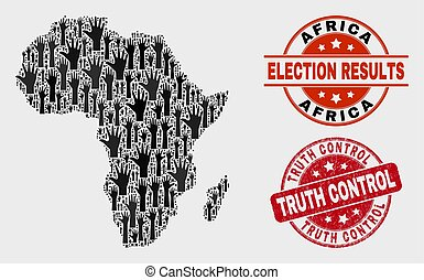 Collage of Voting Africa Map and Distress Truth Control Stamp Seal