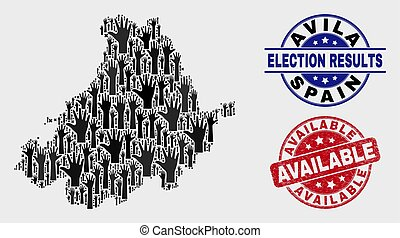 Collage of Voting Avila Province Map and Distress Available Stamp Seal
