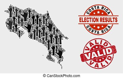 Collage of Voting Costa Rica Map and Distress Valid Stamp Seal