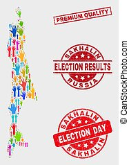 Collage of Voting Sakhalin Island Map and Grunge Premium Quality Stamp Seal