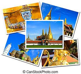 Collage of Wat Phra Kaew Grand Palace, Bangkok , Thailand postcards isolated on white background