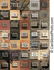Collage of weathered house numbers in Siena, Italy