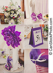 collage of wedding pictures decorations in purple, violet colour