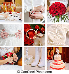 Collage of wedding red
